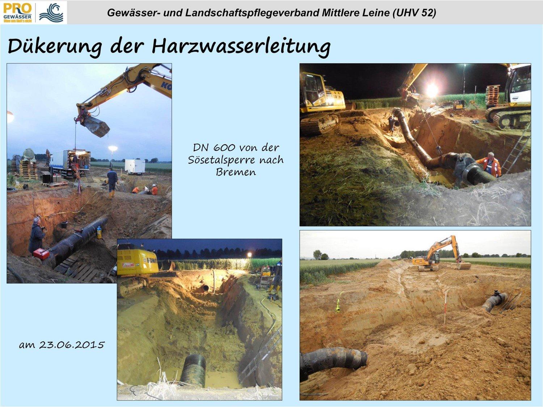 Dükerung der Harzwasserleitung am 23.06.2015 im Rahmen der Neutrassierung des Lohnder Baches (Quelle: GLV)